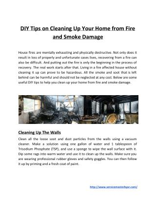 DIY Tips on Cleaning Up Your Home from Fire and Smoke Damage