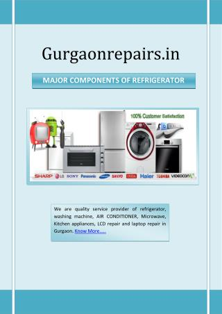 MAJOR COMPONENTS OF REFRIGERATOR