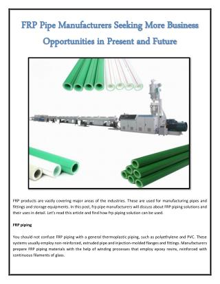 FRP Pipe Manufacturers Seeking More Business Opportunities in Present and Future