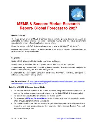 Global MEMS & Sensors Market Regional Analysis, market Share, Revenue and Cost Analysis with Key Company's Profiles and
