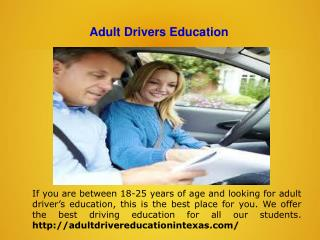 Texas online Adult Drivers Education