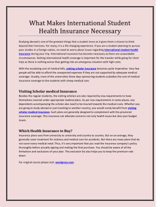 What Makes International Student Health Insurance Necessary