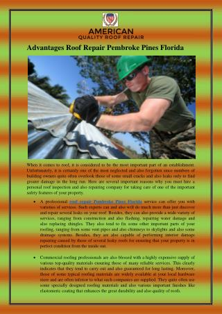 Advantages Roof Repair Pembroke Pines Florida