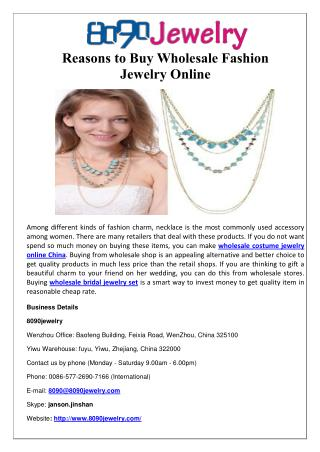 Reasons to Buy Wholesale Fashion Jewelry Online