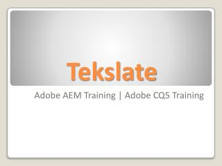 Adobe AEM Training Online by Experts