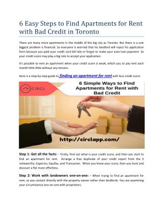 6 Easy Steps to Find Apartments for Rent with Bad Credit in Toronto