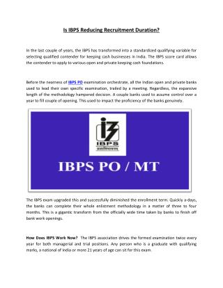 Is IBPS Reducing Recruitment Duration