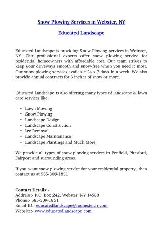Snow Plowing Services in Webster, NY � Educated Landscape