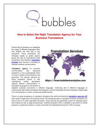 Translation Agencies UK