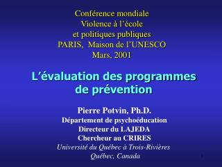 L  valuation des programmes  de pr vention