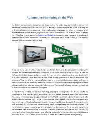 Automotive Marketing on the Web