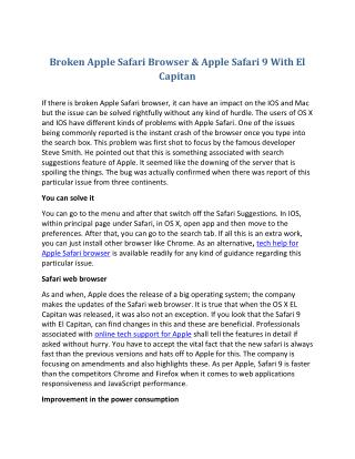 Broken Apple Safari Browser & Apple Safari 9 With El Capitan