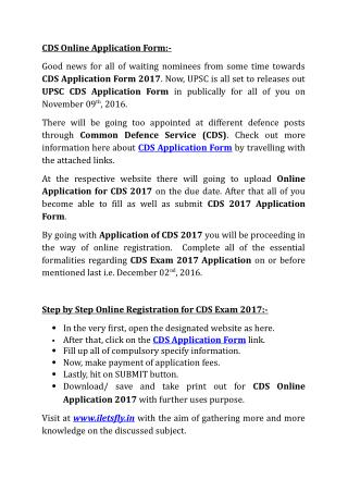 CDS Online Application Form