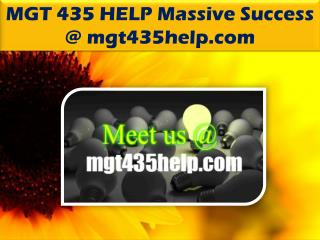 MGT 435 HELP Massive Success @mgt435help.com