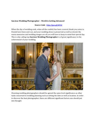 San Jose Wedding Photographer � World is Getting Advanced