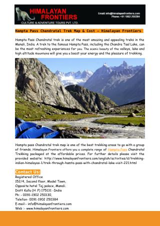 Hampta Pass Chandratal Trek Map & Cost – Himalayan Frontiers