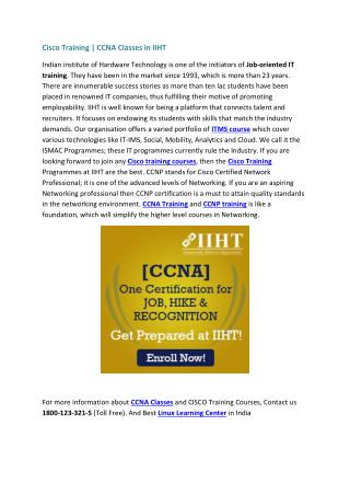 Cisco Training | CCNA Classes in IIHT