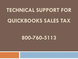 800-760-5113 � Get Technical Support for QuickBooks Sales Tax Issues