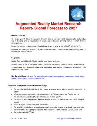 Augmented Reality Market Research Report- Global Forecast to 2027