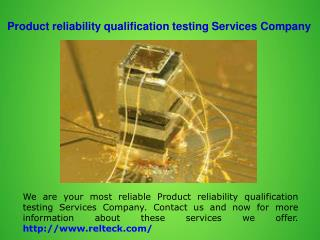 Reliability engineering services company