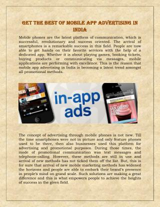 Get the best of mobile app advertising in India