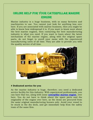 Online Help For Your Caterpillar Marine Engine