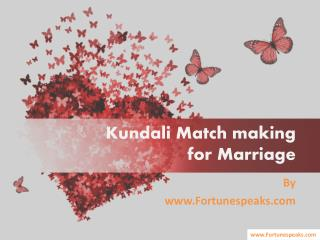 Kundali Match making  for Marriage by fortunespeaks.com