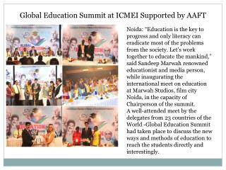 Global Education Summit at ICMEI Supported by AAFT