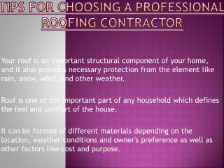 Remember These Points While Choosing A Professional Roofing Contractor