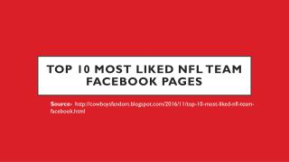 Top 10 Most Liked NFL Team Facebook Pages