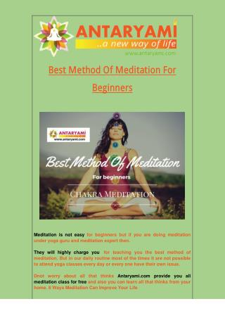 Best Method of Meditation for Beginners