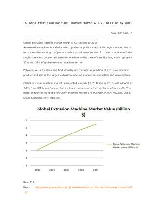 Global Extrusion Machine Market Worth $ 4.70 Billion by 2019