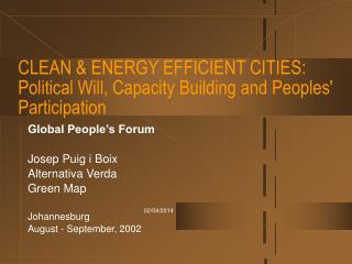 CLEAN  ENERGY EFFICIENT CITIES: Political Will, Capacity Building and Peoples Participation