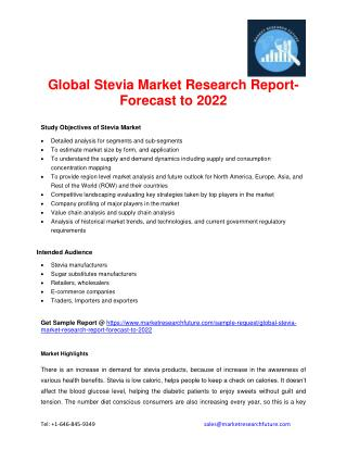 Global Stevia Market Research Report- Forecast to 2022