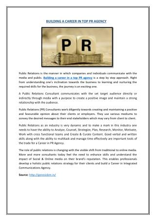 Building a Career in top PR Agency