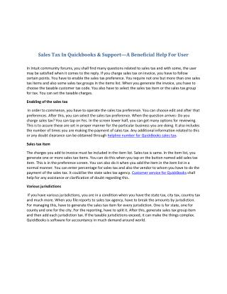 Sales tax in quickbooks & support�a beneficial help for user