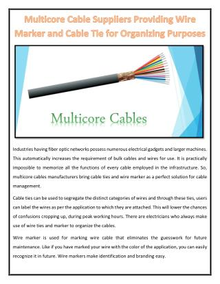 Multicore Cable Suppliers Providing Wire Marker and Cable Tie for Organizing Purposes