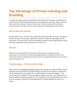 Top Advantage of Private Labeling and Branding
