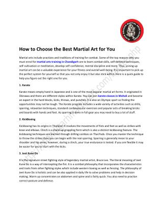How to Choose the Best Martial Art for You