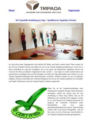 Die Tripada® Ausbildung im Yoga – Qualifizierter Yogalehrer Werden