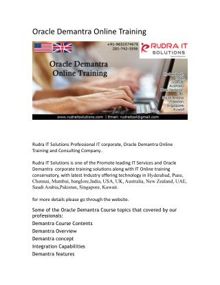 Oracle Demantra Online Training  course in india - rudraitsolutions
