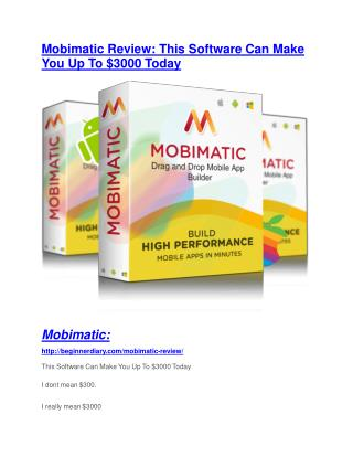 Mobimatic Review - (FREE) Bonus of Mobimatic