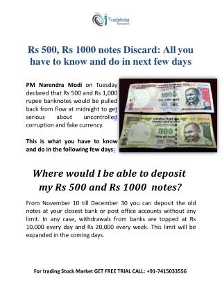 Effect on Stock Market As Rs 500 and Rs 1000 Notes get Scrapped-TradeIndia Research
