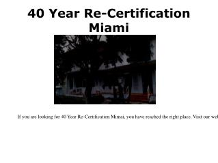 Property Condition Assessment Miami