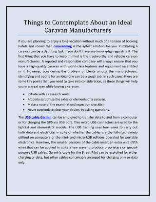 Things to Contemplate About an Ideal Caravan Manufacturers