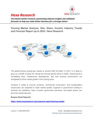 Fencing Market Analysis, Size, Share, Growth, Industry Trends and Forecast Report up to 2024 | Hexa Research