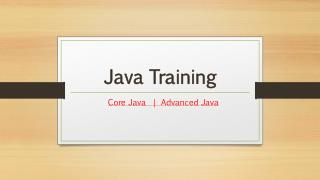 Java Training | Core Java and Advanced Java