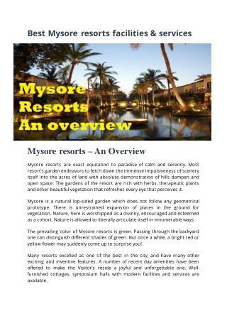 Best Mysore resorts faciliites & services