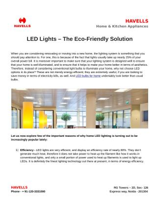 LED Lights – The Eco-Friendly Solution