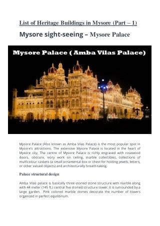 Mysore sight seeing � Mysore Palace
